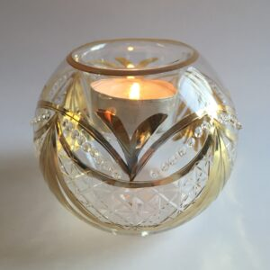 Blown Glass Candle Holder - Gold Garland