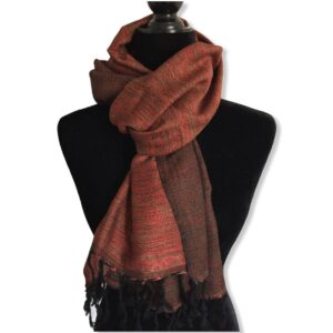 Double-faced Diagonal Handwoven Scarf - Variegated / Red