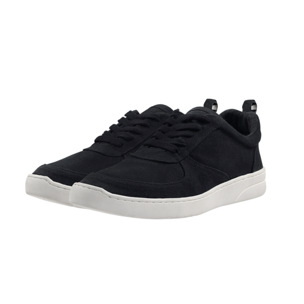 Fairtrade organic vegan MELA sneaker (black with white sole) by etik & co. on the Rosette Fair Trade online store