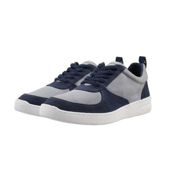 Fairtrade organic vegan MELA sneaker (navy and grey) by etik & co. on the Rosette Fair Trade online store