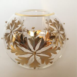 Blown Glass Candle Holder - Gold Snow Flake