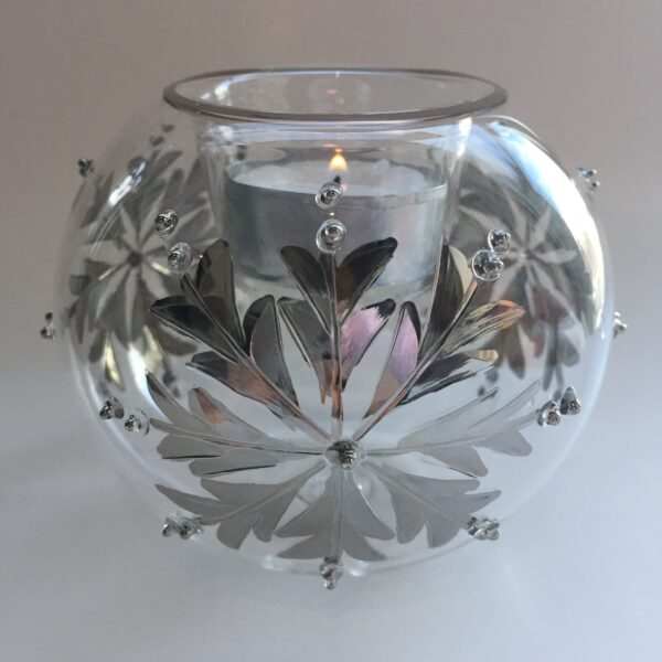 Blown Glass Candle Holder - Silver Snow Flake