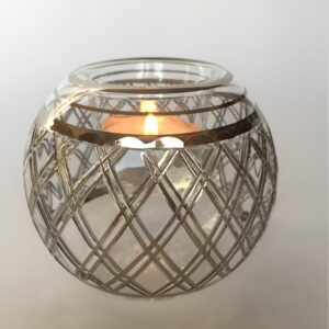 Blown Glass Candle Holder - Silver Lines