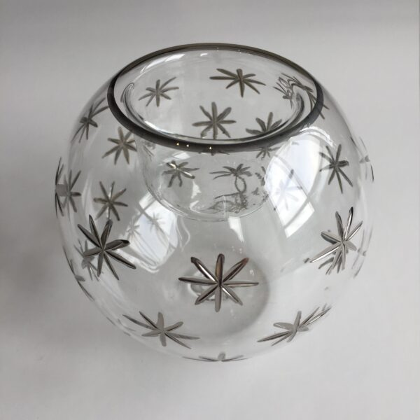 Blown Glass Candle Holder - Silver Stars