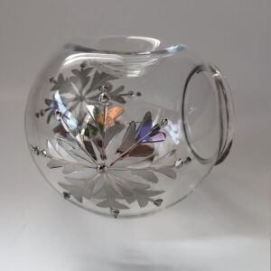 Blown Glass Oil Diffuser - Silver Snow Flake