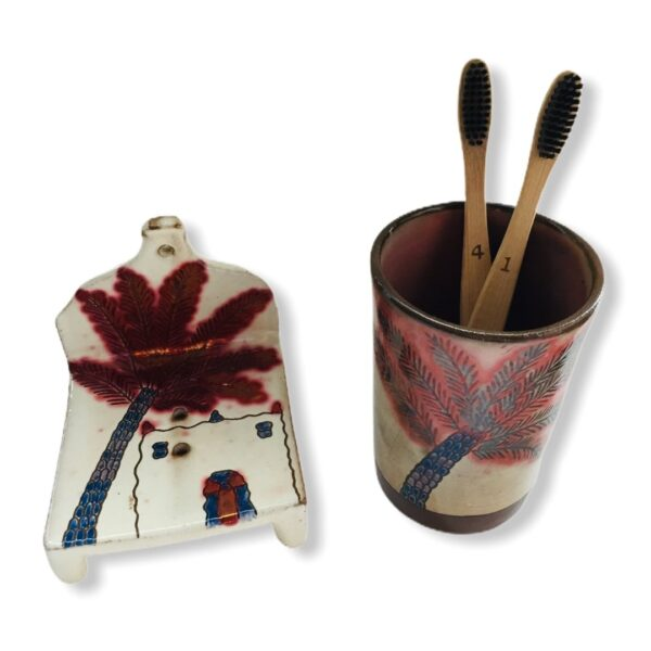 Pottery Toothbrush Holder - Adobe & Palm Tree