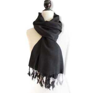 Solid Handwoven Scarf - Black