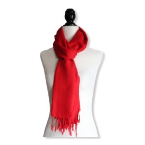 Solid Handwoven Scarf - Red