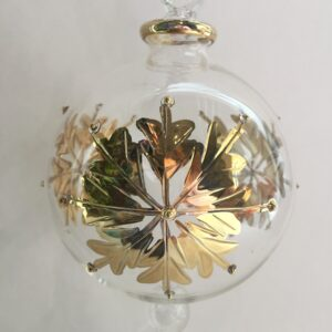 Blown Glass Ornament - Gold Snow Flake