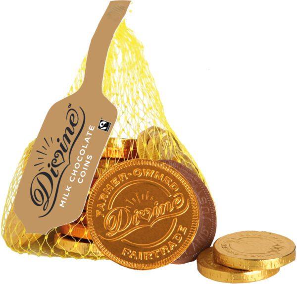 Divine Fairtrade milk chocolate coins (stocking stuffers) on Rosette Fair Trade
