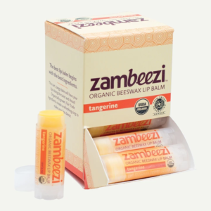 Organic tangerine lip balm by Zambeezi (all natural) on Rosette Fair Trade