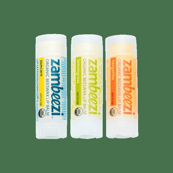 Variety pack of organic lip balms (tangerine, lemongrass & suncare) by Zambeezi on Rosette Fair Trade
