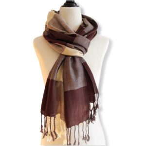 Plaid Handwoven Scarf - Beige & Brown