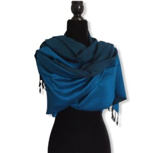 Double-faced Diagonal Shawl - Blue & Black