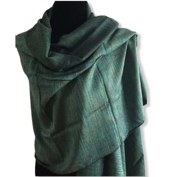 Double-faced Diagonal Shawl - Green & Mustard