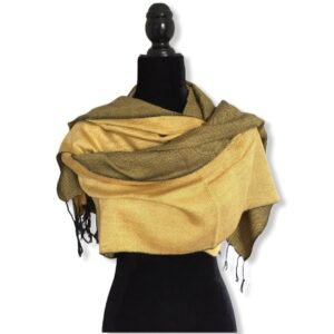 Double-faced Diagonal Shawl - Mustard & Black