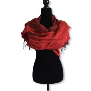 Double-faced Diagonal Shawl - Red & Black