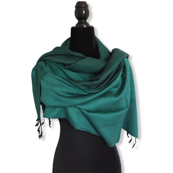 Double-faced Diagonal Shawl - Teal & Black