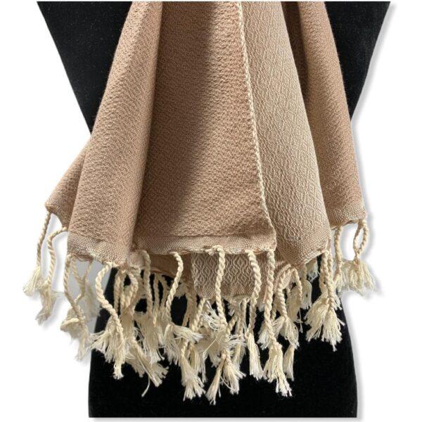 Diamond Handwoven Cotton Shawl - Beige & Off-white