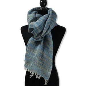Linen Handwoven Scarf - Variegated Blue