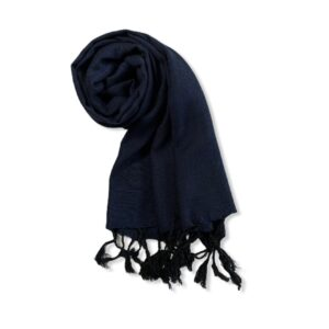 Small Solid Handwoven Scarf - Navy Blue