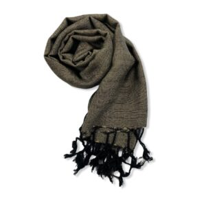 Small Solid Handwoven Scarf - Black & Beige