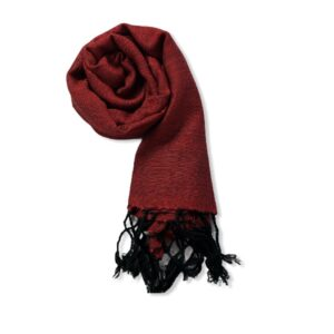Small Solid Handwoven Scarf - Red & Black