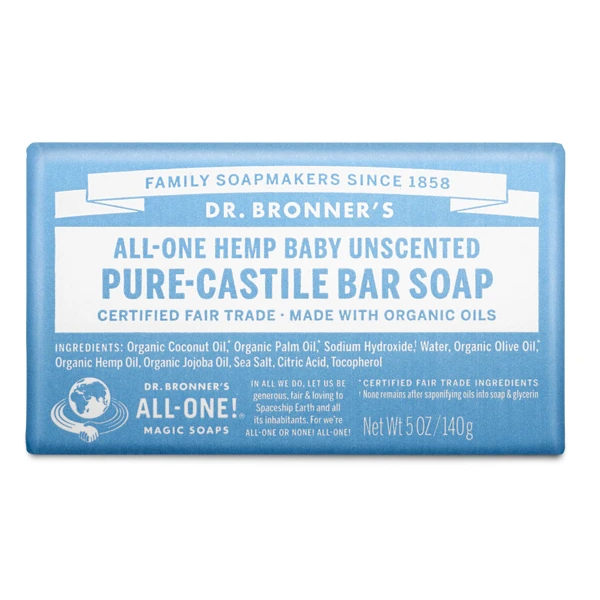 Baby unscented pure castille bar soap by Dr Bronners (fair trade, organic) on the Rosette Network