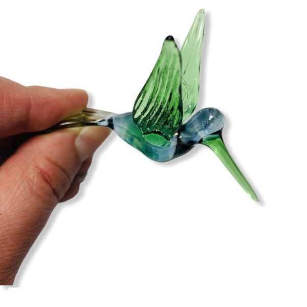 Blown Glass Ornament - Hummingbird: Green & Blue
