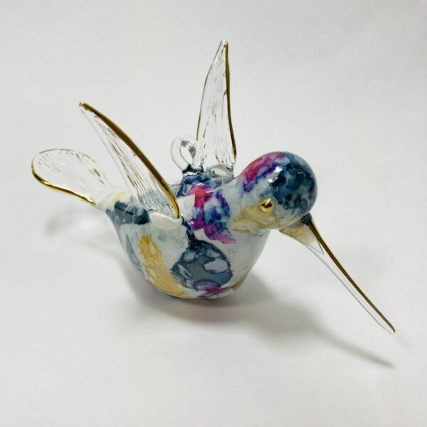 Blown Glass Ornament - Hummingbird: Multi / Blue