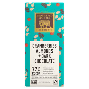 Cranberry almond dark chocolate (vegan) by Endangered Species (save grey wolves) on Rosette Fair Trade