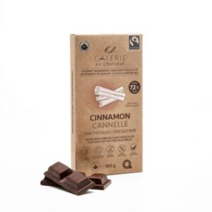 Dark chocolate cinnamon chocolate bar by Galerie au Chocolat (fair trade, organic, vegan) on the Rosette Network