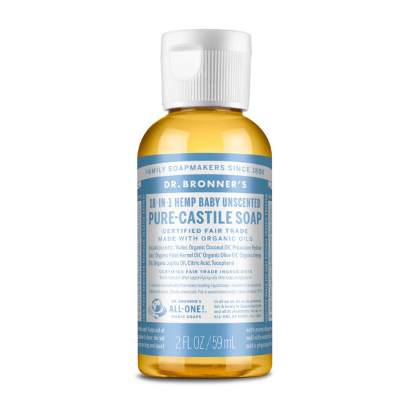 Travel size Dr Bronner's baby unscented pocket size liquid castille soap (fair trade, organic) on the Rosette Network