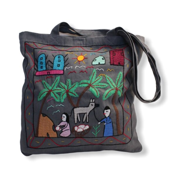 Hand Embroidered Canvas Tote Bag - Gray