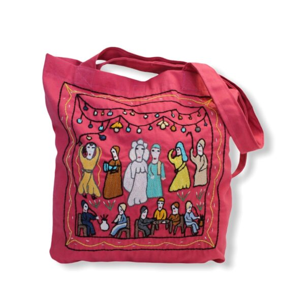 Hand Embroidered Canvas Tote Bag - Pink