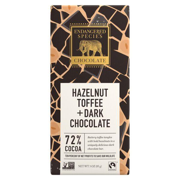 Hazelnut toffee dark chocolate by Endangered Species (save black rhinos) on Rosette Fair Trade