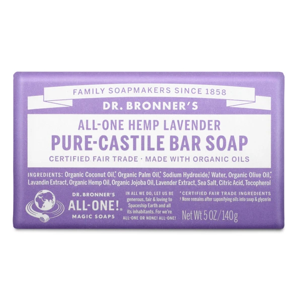 Lavender pure castille bar soap by Dr Bronners (fair trade, organic) on the Rosette Network
