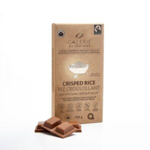 Milk chocolate crisped rice chocolate bar by Galerie au Chocolat (fair trade, organic) on the Rosette Network
