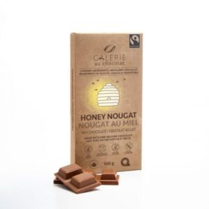 Milk chocolate honey nougat chocolate bar by Galerie au Chocolat (fair trade, organic) on the Rosette Network