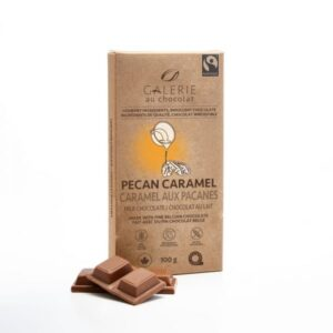 Milk chocolate pecan caramel chocolate bar by Galerie au Chocolat (fair trade, organic) on the Rosette Network