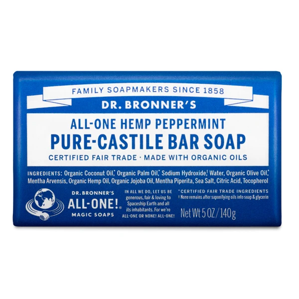 Peppermint pure castille bar soap by Dr Bronners (fair trade, organic) on the Rosette Network