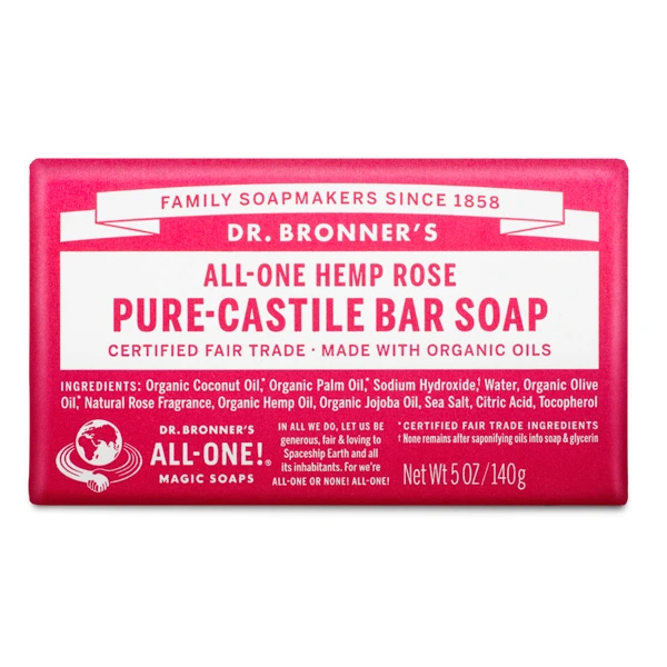 Rose pure castille bar soap by Dr Bronners (fair trade, organic) on the Rosette Network