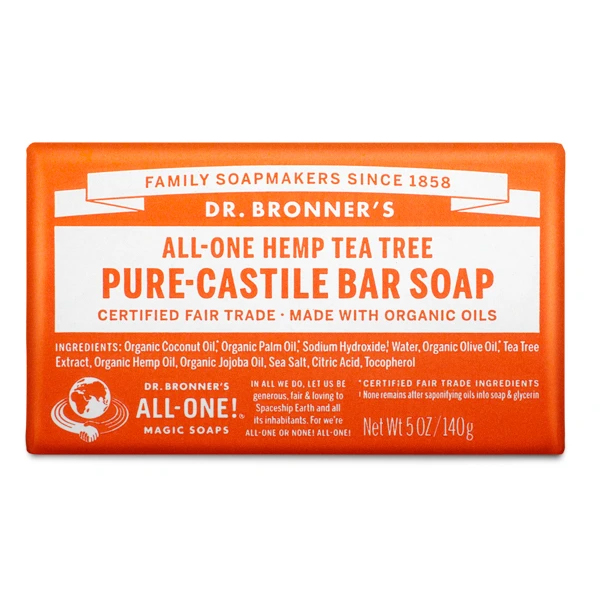 Tea tree pure castille bar soap by Dr Bronners (fair trade, organic) on the Rosette Network