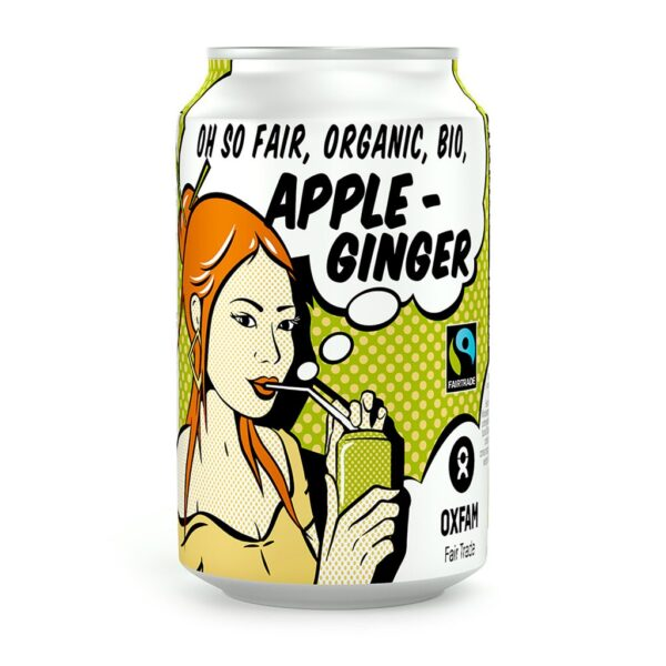 Organic apple-ginger soft drink (soda) by Oxfam Fair Trade on the Rosette Network