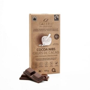 Dark chocolate with cacao nibs bar by Galerie au Chocolat (fair trade, organic, vegan) on the Rosette Network