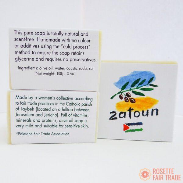 Zatoun Pure Olive Oil Bar Soap castile (fair trade, all natural, handmade) on the Rosette Network online store