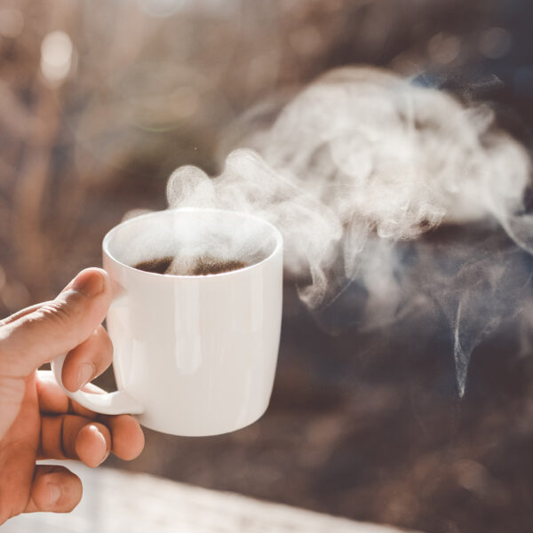 Fair trade hot drinks (cup of steaming coffee)