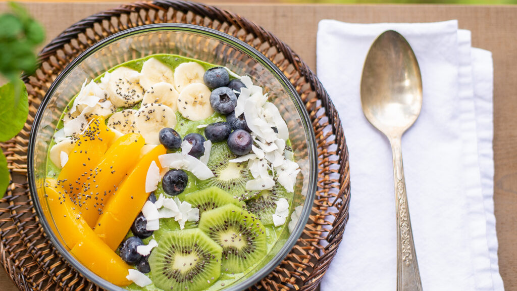 Fair trade fruit beyond bananas (assorted tropical fruit on a smoothie bowl)