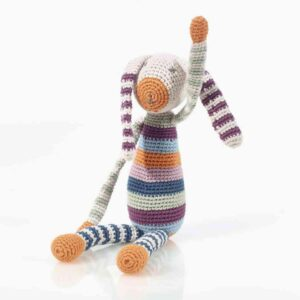 Organic baby rattle bunny by Pebble Toys on the Rosette Fair Trade online store