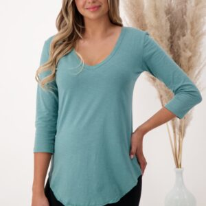 Fair trade v-neck shirt (The Relaxed ¾ Sleeve V-neck T-shirt) by The Good Tee on the Rosette Network